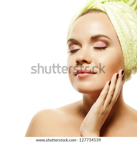 Spa Woman. Beautiful Girl With Ginger Hair After Bath Touching Her Face. Perfect Skin. Skincare. Young Skin. Close up. Studio Shot - stock photo