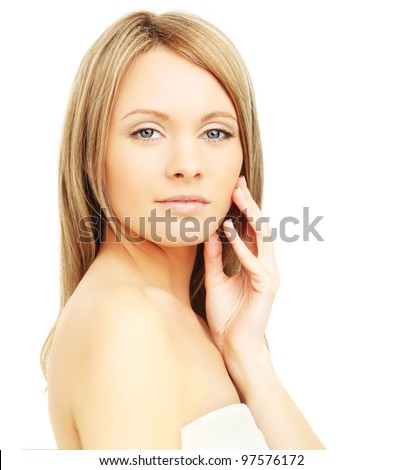 Spa woman isolated - clean skin - stock photo