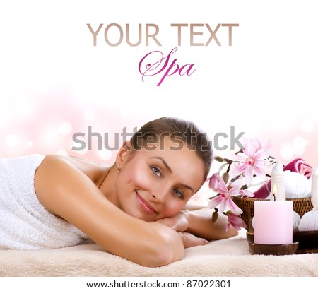 Spa Woman isolated on white - stock photo