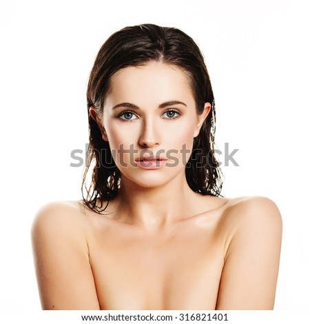 Spa Woman Isolated on White Background. Wet Healthy Skin. Beautiful Face  - stock photo