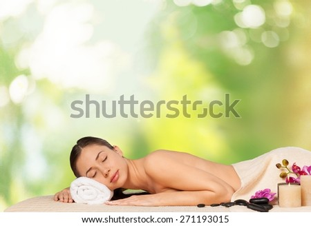 Spa, woman, relaxing. - stock photo
