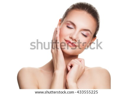 Spa Woman Touching her Hand to her Skin. Woman Isolated on White. Healthy Face, Clear Skin. Skincare Concept - stock photo