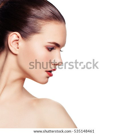 Spa Woman with Healthy Skin and  Perfect Face Isolated on White