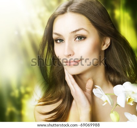 Spa Woman with long hair outdoor.Clear fresh skin - stock photo