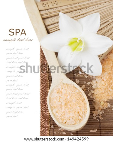 SPA (wooden spoon with salt, fan and lily flowers isolated on white background with sample text)