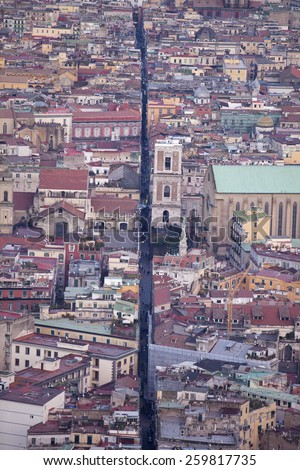 Spaccanapoli,the street running through the heart of old Naples from high above at the Certosa - stock photo