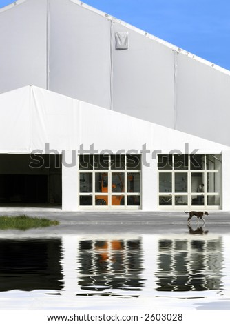 Space-Age tent like super structure in the Mediterranean island of Malta - stock photo