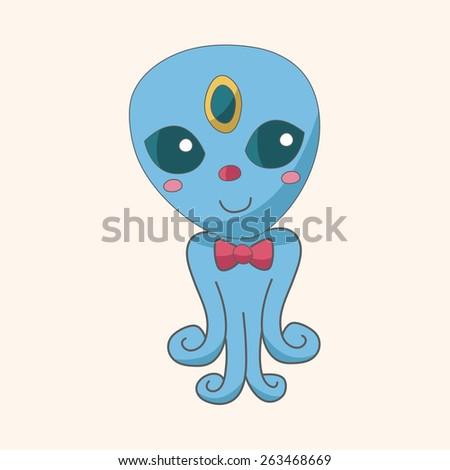 Space alien theme elements - stock photo