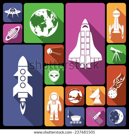 Space and astronomy flat icons set with rocket spaceman flying saucer isolated  illustration - stock photo