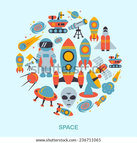 Space and astronomy icons flat set of rocket satellite earth alien  illustration - stock photo