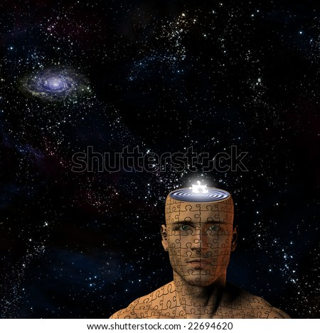 Space and puzzle man - stock photo