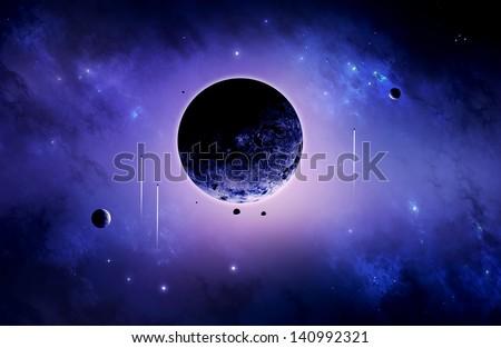 Space art imaginary deep universe exploration poster - stock photo