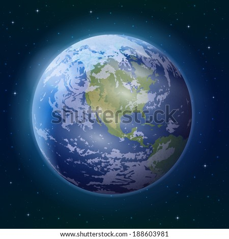 Space background, realistic planet mother Earth and stars. Elements of this image furnished by NASA  - stock photo