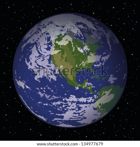 Space background, realistic planet mother Earth and stars. Thanks to NASA for the image (www.visibleearth.nasa.gov)