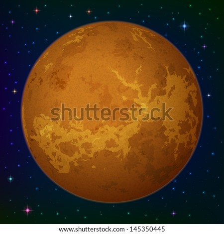 Space background, realistic planet Venus and stars. Elements of this image furnished by NASA  - stock photo