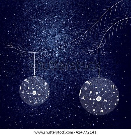 space background with Christmas decorations