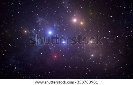 Space background with colorful stars - stock photo