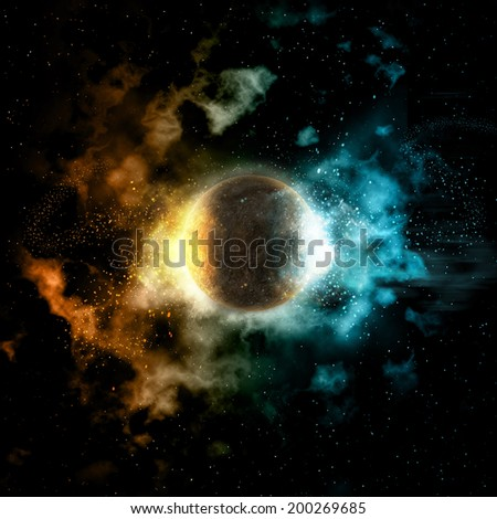 Space background with colourful nebula and fire and ice planet - stock photo
