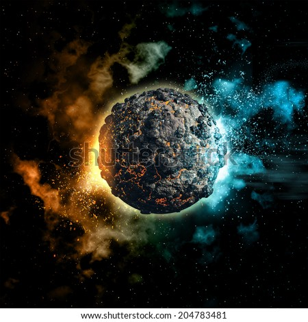 Space background with colourful nebula and volcanic planet - stock photo
