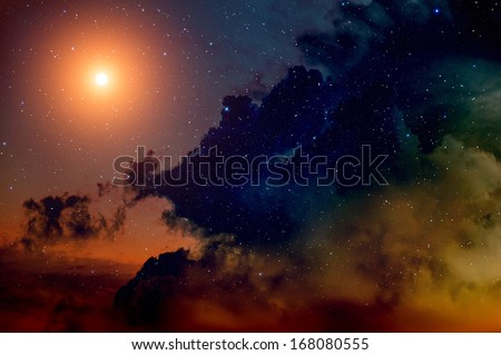 Space background with nebula and bright star.  - stock photo