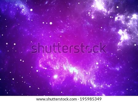 Space background with purple nebula and stars - stock photo
