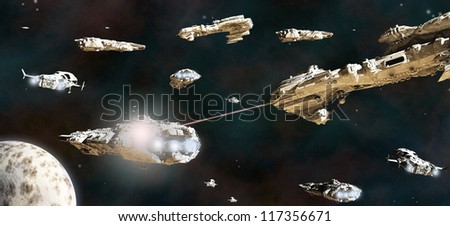 Space battle between fleets of giant science fiction ships, 3d digitally rendered illustration - stock photo