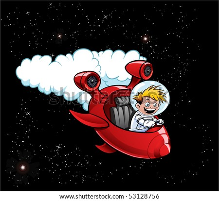 Space Boy in Red Rocket Ship - stock photo
