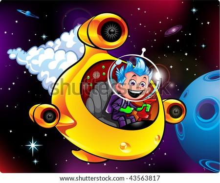SPACE BOY PILOTS SPACE SHIP - stock photo