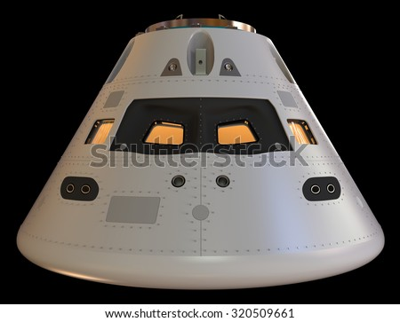 Space capsule isolated on black - stock photo