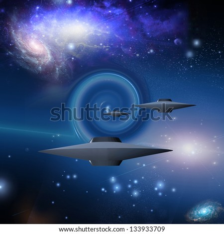 Space Craft Travels Via Wormhole - stock photo