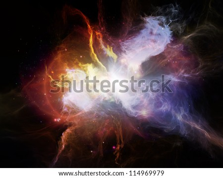 Space Dance Series. Backdrop design of nebulous textures, lights and gradients to provide supporting composition for works on astronomy, imagination, fantasy and creativity - stock photo