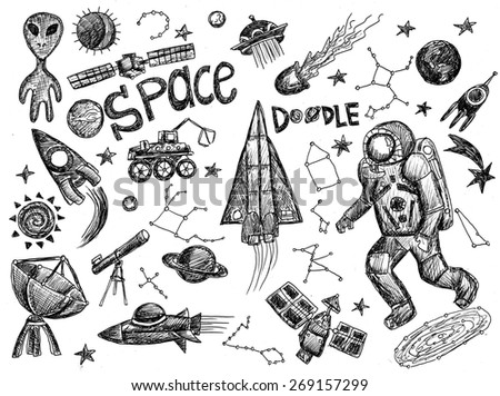 Space doodle illustration
