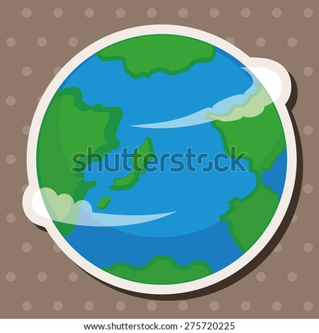Space earth , cartoon sticker icon - stock photo