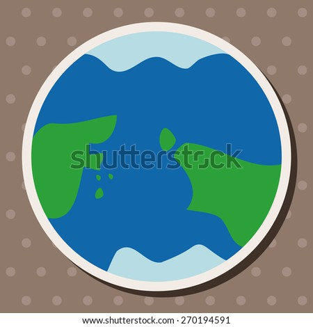 Space earth, cartoon stickers icon - stock photo