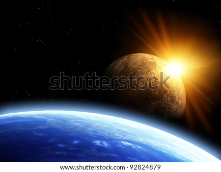 Space flare. A beautiful space scene with planets and sun