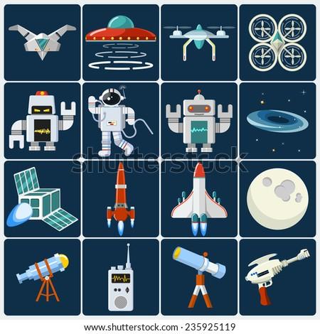 Space Flat Icon Set - stock photo