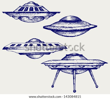 Space flying saucer. Doodle style. Raster version - stock photo