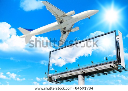 Space for Message Plane Flying - stock photo