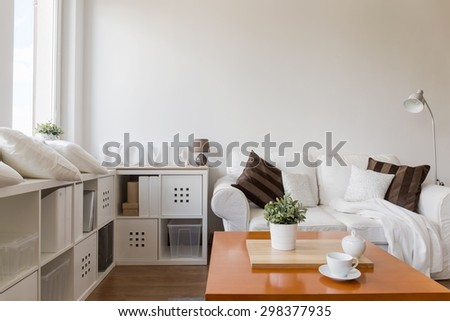Space for relax in stylish white apartment - stock photo