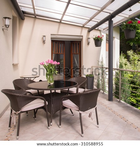 Space for relax on the cozy balcony - stock photo