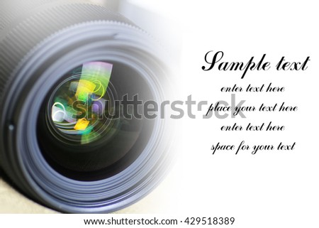 space for text on background of lens flare object - stock photo