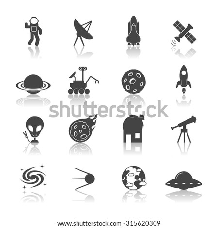 Space galaxy exploration icons black set with spaceship satellite astronaut shuttle isolated  illustration