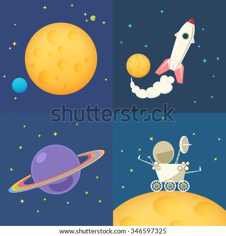 Space Icons Set, Moon in Space Among the Stars and Planets, Planet Rover on the Moon among the Stars in Space ,Spacecraft Flying in Space, Planet Saturn in Space - stock photo