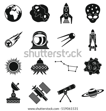 Space icons set. Simple illustration of 16 space travel  icons for web