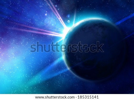 Space image of planet Earth and satellite. Elements of this image are furnished by NASA