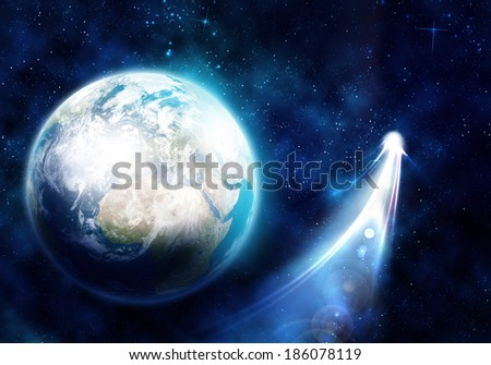 Space image of planet Earth and satellite. Elements of this image are furnished by NASA - stock photo