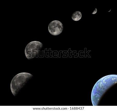 Space image with phases of the moon and planet earth