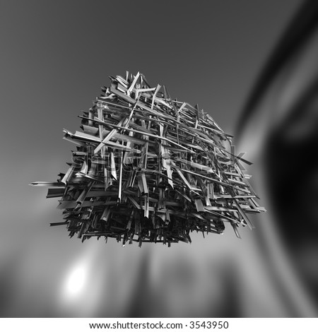 Space junk. Lot of bended metals. Clipping path included