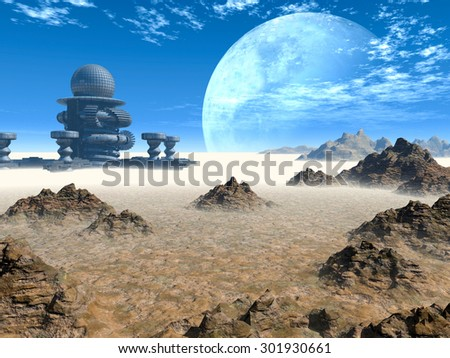 Space landscape - stock photo