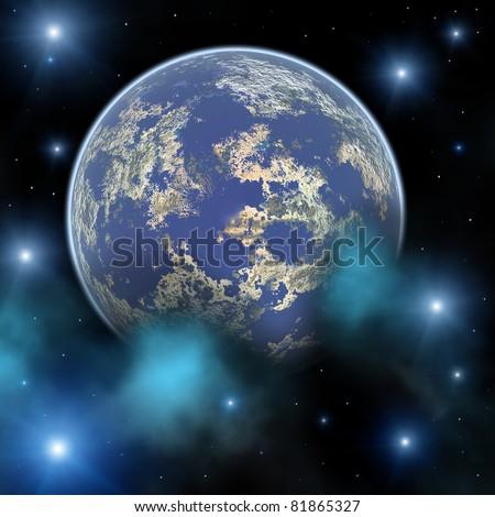 Space landscape - stock photo